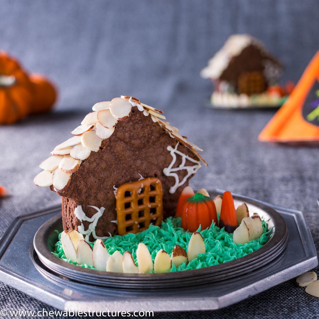 Haunted House Made of Chocolate Brownies and California Almonds, Halloween Treats